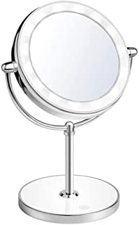 Vanity Mirror, Dressing Table Makeup with Natural White Led Light Dual Sided Round Rotating Cosmetic Stand Magnifier Desk Type Glass Swivel 360°Bathroom18*16.2 * 33Cm