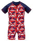 kavkas Baby Boys Swimsuit One-Piece Rash Guard Ruffle Swimwears,7T Red