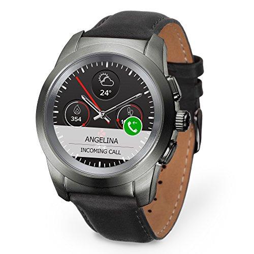 MyKronoz ZeTime Premium hybride Smartwatch 39mm mit mechanischen Zeigern über einen runden Farbtouchscreen – Petite Matt Titanium / Schwarz Leder Glatt