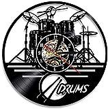 Guitarra Drum Set Silueta led Reloj de Pared iluminación Banda de música Disco de Vinilo Reloj Reloj de Pared decoración del hogar Regalos para Miembros de la Banda Fans