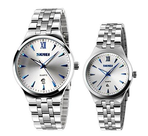 El reloj de pulsera de cuarzo único de las mujeres con marcadores luminosos azules hombres frescos y fecha reloj de los pares (juego de 2)