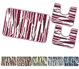 emmevi Juego de 3 piezas de alfombra de baño, suave, absorbente, Shaggy moteado retro, antideslizante, mod. Magnolia (D), juego de 3 piezas, color beige