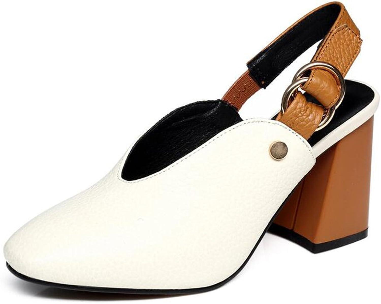 Jinsen Summer shoes Baotou High Heel Sandals Female Belt Buckle Leather Heel Sandals