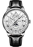Black Leather Strap Watches for Mens Chronograph Mechanical Wrist Watches White Moon Phase Dial Waterproof Luminous Date JSDUN Brand Automatic Self Winding Watches for Male