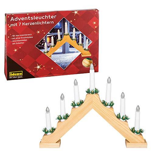 Idena 8582068 - Adventsleuchter aus naturfarbenem Holz mit 7 warmweißen Kerzenlichtern, mit Ersatzlampe, Anschlusskabel mit Schalter, ca. 40 x 30 cm groß, Dekoration für Weihnachten, Advent