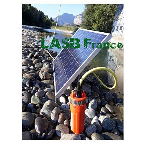 LASB France Solarpumpe, 70 m Tiefe, mit Photovoltaik-Panel, 100 W