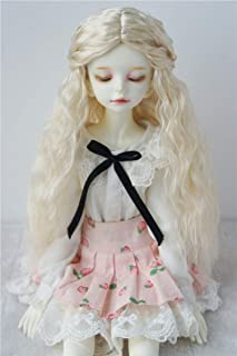 JD119 7-8inch 18-20CM Long Curly Princess Doll Wigs 1/4 MSD Synthetic Mohair BJD Wigs Vinyl Doll Accessories (Blond)