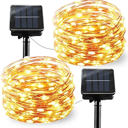 Chinety Upgraded Solar Powered String Lights, 2 Pack 8 Modes 200 LED Solar Fairy Lights Waterproof 66ft Copper Wire Lights Outdoor Garden String Lights for Home Patio Yard Party Decor (Warm White)