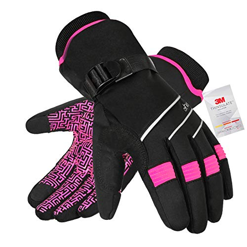 Waterproof & Windproof Winter Gloves for Men and Women,-30°F 3M Thinsulate Thermal Gloves Touch Screen Warm Gloves for Skiing,Cycling,Motorcycle,Running,Outdoor Sports-Pink-XS