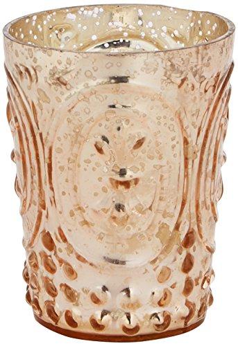 Insideretail-Porta lumini con in Legno Invecchiato, in Vetro, Colore: Rame, 9,5 cm, Confezione da 24