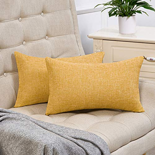 Anickal Set of 2 Mustard Yellow Lumbar Pillow Covers Cotton Linen Decorative Farmhouse Throw Pillow Covers 12x20 Inch for Sofa Couch Decoration