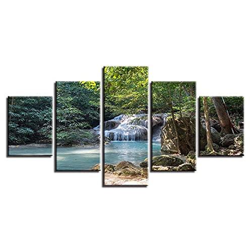 GHYTR Paisaje del Árbol del Bosque De La Cascada Lienzo 5 Piezas Abstracto Pared Arte Pintura Grandes Cuadros Marco 150×80Cm Cartel Pared Decoracion Hogar Murales Pared Sala Dormitorio Regalo