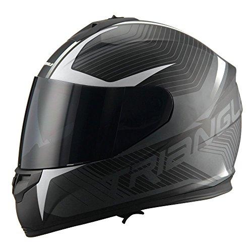 TRIANGLE Adult Dual Visor Full Face Motorcycle Helmet Street Bike (Matte White, X-Large)
