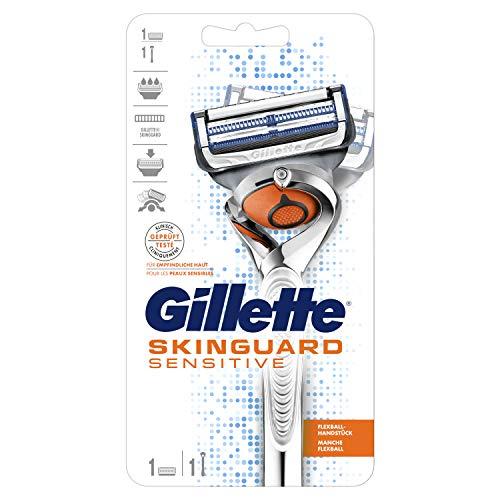 Gillette SkinGuard Sensitive Rasierer Herren, klinisch getestet für empfindliche Haut, Rasierer + 1 Rasierklinge