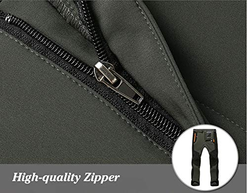 TACVASEN Waterproof Trousers for Men Blue Fleece Trousers Winter Outdoor Denim Trousers Mens Casual Cargo Military Tactical Trousers Navy