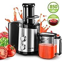 Aigostar 30IMX - Licuadora y extractor de frutas y verduras Potencia de 850 W con bajo nivel de ruido. Semiprofesional 1,25 l. Acero inoxidable Sin bisfenol A.