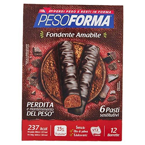 Pesoforma Barrette Cioccolato Fondente Amabile - Pasti Sostitutivi Dimagranti Solo 237 Kcal - Ricco In Proteine - Pasti, Cioccolato Fondente Dark, 6 Unità