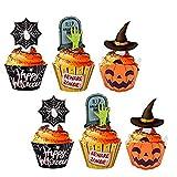 KungFu Mall Paquete de 24 piezas de decoraciones para cupcakes de Halloween para Halloween, fiestas, cumpleaños, decoración de alimentos