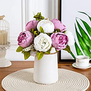 Queen Bee Silk Peony Bouquet with Ceramic Vase Included Large Size 14″ Wedding Centerpiece Events Birthday Gift Bridal Baby Shower Floral Arrangement Artificial Fake Flowers