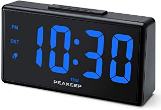 PEAKEEP Night Light Digital Alarm Clock with USB Charger and Dimmer, Large LED Display, Plug in Electric Loud Alarm Clock for Bedrooms Bedside, Day, DST