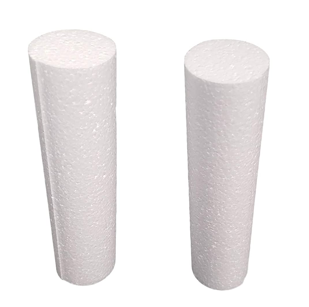 MT Products White EPS Hard Foam Rod Craft 2 inch Diameter x 10 Inches Length (8 Pieces)