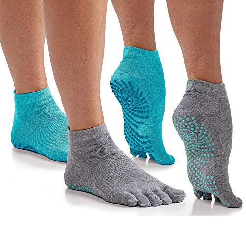 Gaiam Yoga Socks - Grippy Non Slip Sticky Toe Grip Accessories for Women & Men - Hot Yoga, Barre, Pilates, Ballet, Dance, Home - Frost 2-Pack