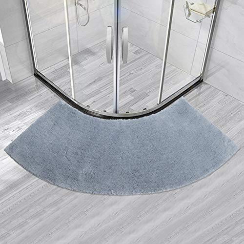 KKJJ Non-Slip Curved Shower Mat, Shaggy Fan-Shaped Carpet Shower Rugs Absorbent Doormat Polyester Floor Mat,B,45143cm