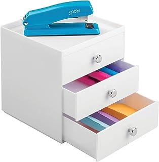 mDesign boite de rangement a tiroir – organiseur de bureau 3 tiroirs – trieur de bureau pratique pour un espace de travail...