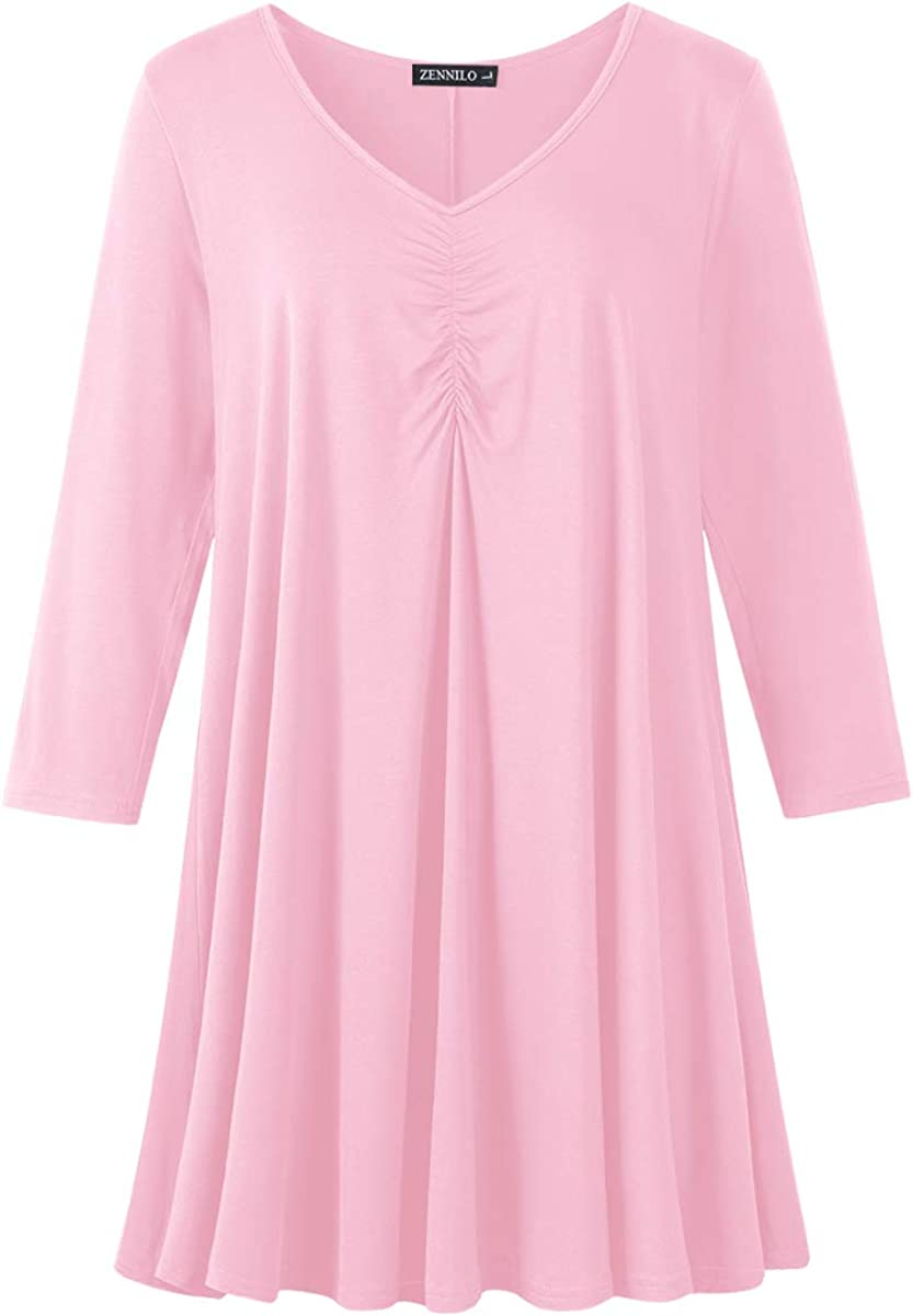 ZENNILO 40% OFF Cheap Sale Women Plus Size Overseas parallel import regular item Swing Tunic Tops Sleev Casual Long Basic