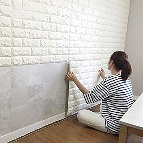 DODOING 3D Brick Muster Tapete, 3D Ziegelstein Tapete Wandaufkleber Wandtattoo Papier Abnehmbare Selbstklebend Tapeten für Schlafzimmer Wohnzimmer Moderne Hintergrund TV-Decor(2 Stück, Weiß)