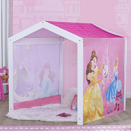 Disney Princess Indoor Playhouse with Fabric Tent for Boys and Girls by Delta Children - Great Sleep or Play Area for Kids - Fits Toddler Bed