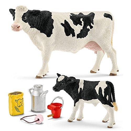 Schleich - 3er Set - 13797 Kuh Schwarzbunt + 13798 Kalb Schwarzbunt + 42291 Futter für Kuh und Kälbchen