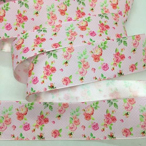 5Y 38mm Flores Cinta de satén de alta calidad para manualidades hechas a mano Regalo Embalaje floral Fiesta de Pascua Matrimonio Arcos para el cabello Deco-China, PR1089,5 yardas