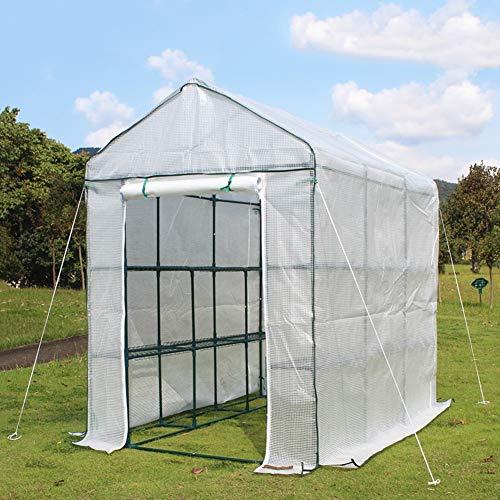 ZAQ Tomaten tomatenhaus Großes Freiluftgewächshaus, begehbar - Weiß, 2 Etagen, 12 Regalböden, Winterpflanzen, Blumenständer mit 2 Türen, 210 × 140 × 195 cm foliengewächshäuser