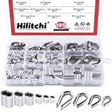 Hilitchi 195-Pcs M2 / 3/4 / 5 304 Stainless Steel Thimble and 6-Size Aluminum Crimping Loop Sleeve Assortment Kit for 1/16