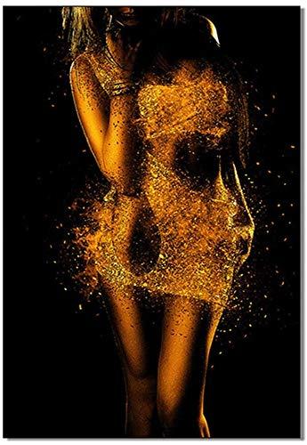 Pintura De La Lona 60x80cm Sin Marco Decoración de dormitorio, arte de pared negro, chica negra afroamericana en vestido dorado, póster artístico, imagen Sexy para mujer, fotos, impresiones, hogar