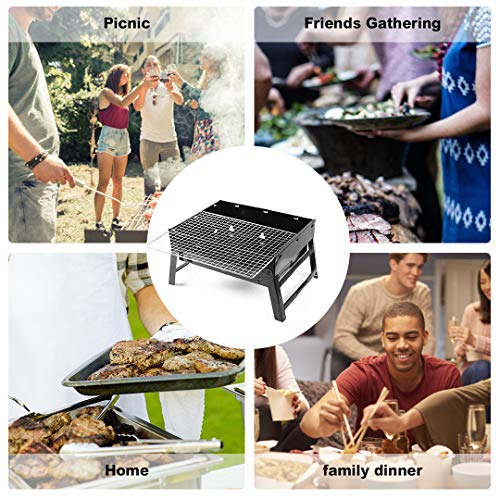 Kono BBQ Grill Portable Folding Charcoal Stainless Steel Desk Tabletop Barbecue Grill for Garden Terrace Hiking Picnics…