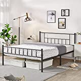 YAHEETECH 13 inch Full Size Metal Bed Frame with Headboard and Footboard Platform Bed Frame with Storage No Box Spring Needed Mattress Foundation for Girl Boy Black