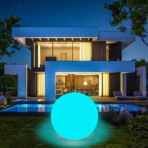 Schwimmende Poolbeleuchtung, COOLWEST 40cm 16 Farbe RGB LED Ball Licht Wasserdicht IP68 Beleuchtung Poollicht Nachtlicht, Außen Gartenleuchte für Teich Schwimmbad Party Dekoration (1 Stück)