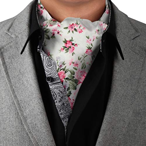 Long-Self Day Cravat For Party White Long-Self Cravat Tie Ascot 100% Pure Cotton Paisley 53'-Long Tall Casual Occasion Interview C.C.AQ.I.019 Dan Smith White,Dark Olive Green,Hot Pink