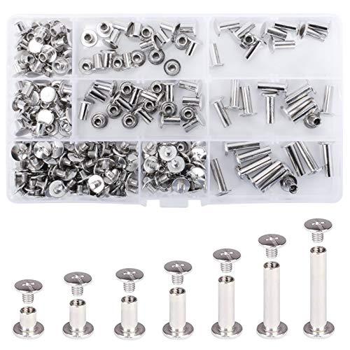 KAILEE 230 Stück Chicago Bindung Schrauben Kits 7 Größen Metall-Rundkopf Buchschrauben für DIY Lederdekoration Buchbinderei 5 mm x (5/6/8/10/12/15/18 mm)