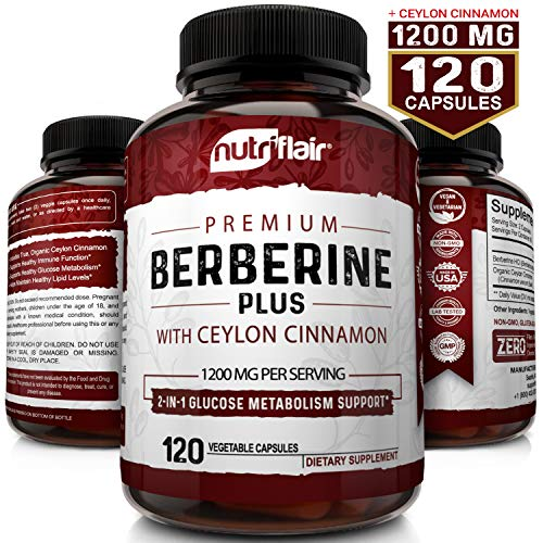 Premium Berberine HCL 1200mg Plus Organic Ceylon Cinnamon - 120 Capsules - Healthy Blood Sugar, Glucose Metabolism, Immune System, Insuline Support for Diabetes - Berberine HCI Root Supplement Pills