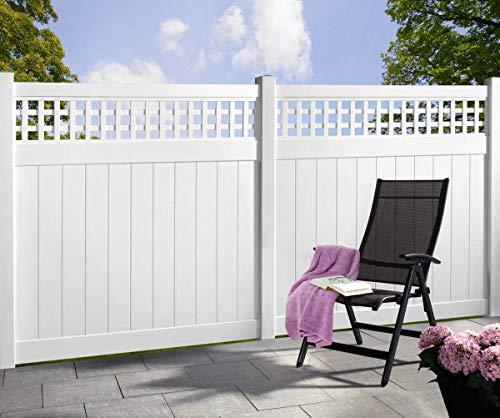 Longlife Sichtschutz Zaun Kunststoff weiß 170x170cm mit Rankgitter aus extrem witterungsbeständigem Fensterkunststoff (kein WPC) (4 Zäune + 5 Pfosten = 730cm Zaunlänge)