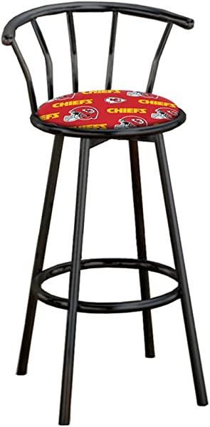 The Furniture Cove 1 29 Tall Specialty Custom Black Barstool Featuring The Choice Of Your Favorite Football Team Logo Fabric Covered Seat Cushion Chiefs