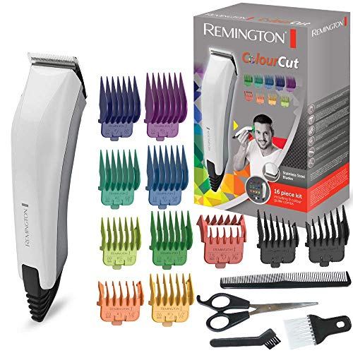 Remington HC5035 Colour Cut Tagliacapelli 11 pettinini, forbici, pettine e spazzola per il collo,...