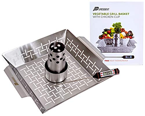 Large Stainless Steel BBQ Grill Basket Set with Free Meat Thermometer– Beer Can Chicken Holder/Roaster/Cooker Stand-Vertical Grilling Accessories-Rack for Kabob, Fish, Vegetables-Turkey Cannon pan