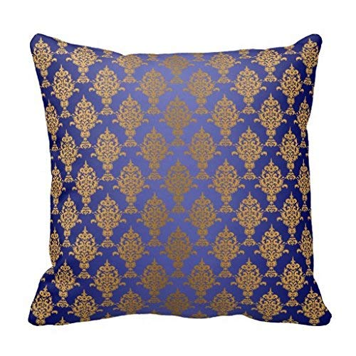 Betrothales Damask Gold Sur Coussin Bleu Casual Chic Royal Mode Simplicité Confortable Usage Quotidien Chic (Color : Colour, Size : Size)