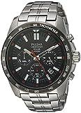 Pulsar: Men's On The Go Solar Chronograph Silvertone Watch