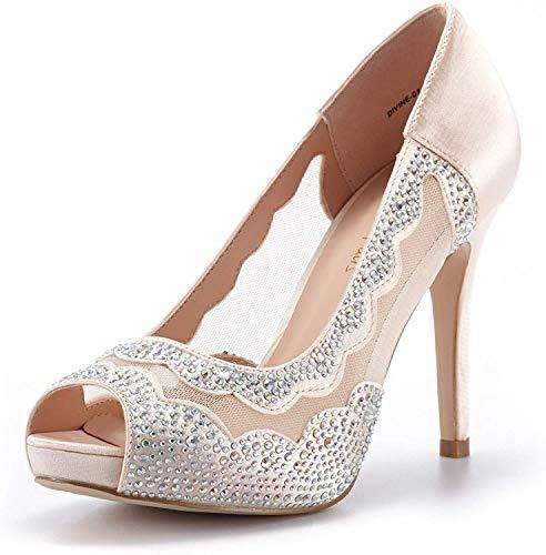DREAM PAIRS Women's Divine-01 Champagne High Heel Pump Shoes - 5.5 M US