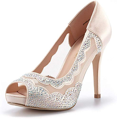 DREAM PAIRS Women's Divine-01 Champagne High Heel Pump Shoes - 9.5 M US